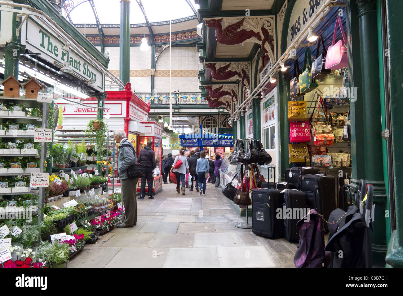 Leeds Indoor Market with its stalls - Stock Image
