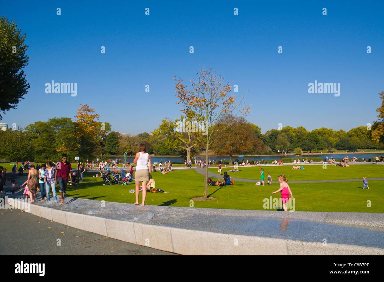 Princess Diana Memorial Fountain in Hyde Park central London England UK Europe - Stock Image