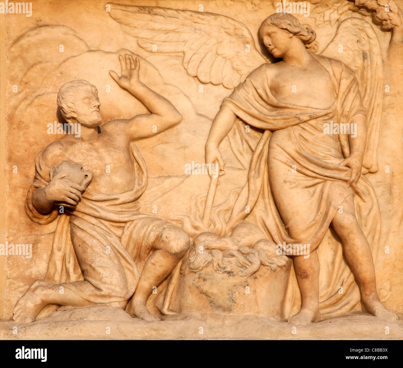 Milan - detail from facade of Duomo - Offer of Cain - Stock Image