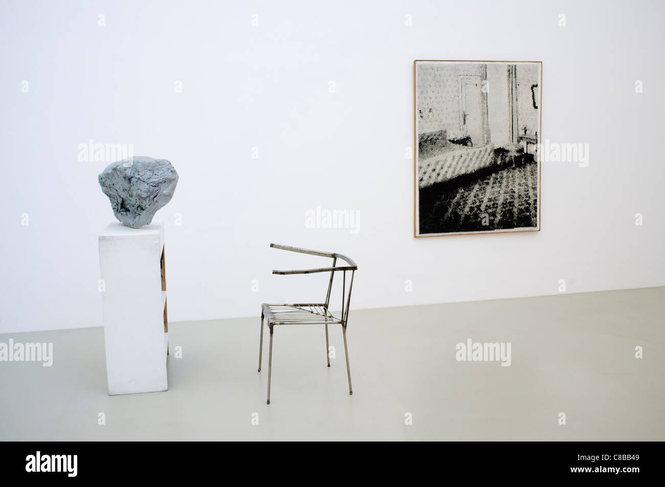Sculpture Lobby Piece for a Museum by Franz West and Photo Bedroom by Sigmar Polke at Abteiberg in Mönchengladbach - Stock Image