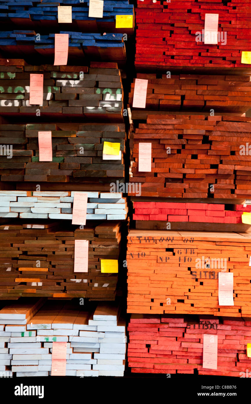 Full frame of stack of plywood in warehouse - Stock Image