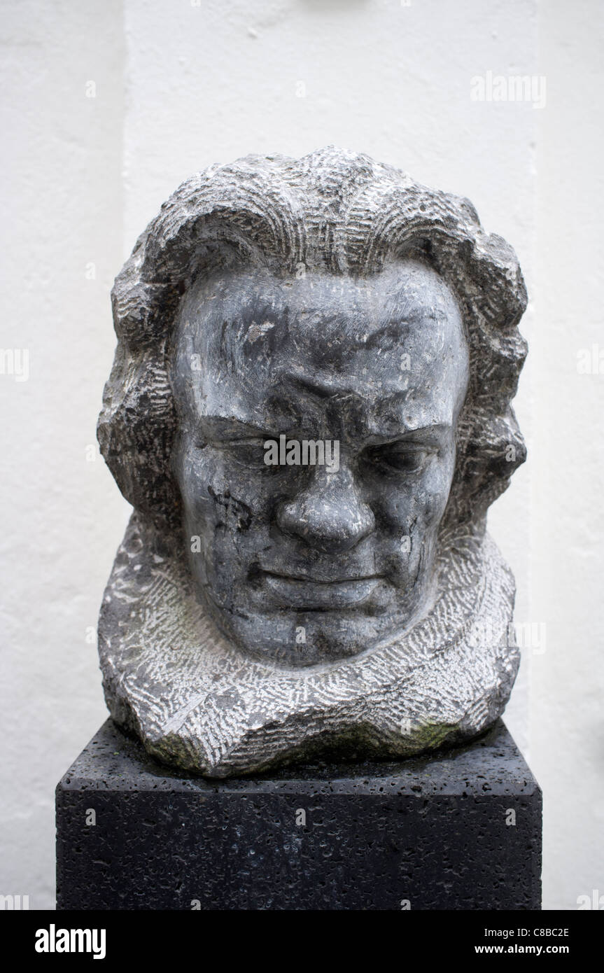 Bust of the composer at Beethoven Museum in house where composer was born in Bonn Germany - Stock Image