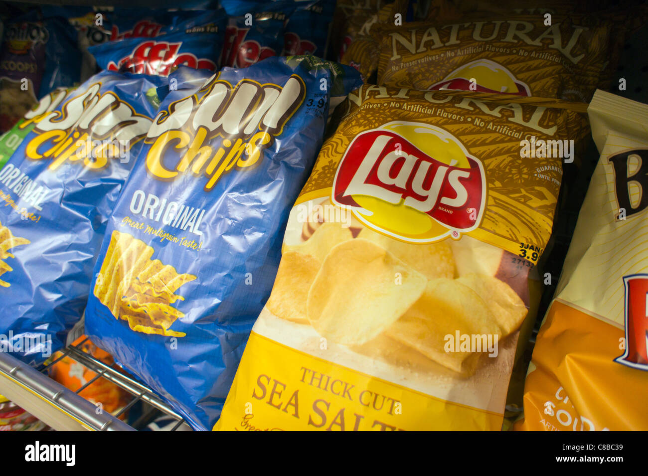 a display of pepsico frito lay brand fritos and sun chips snacks in