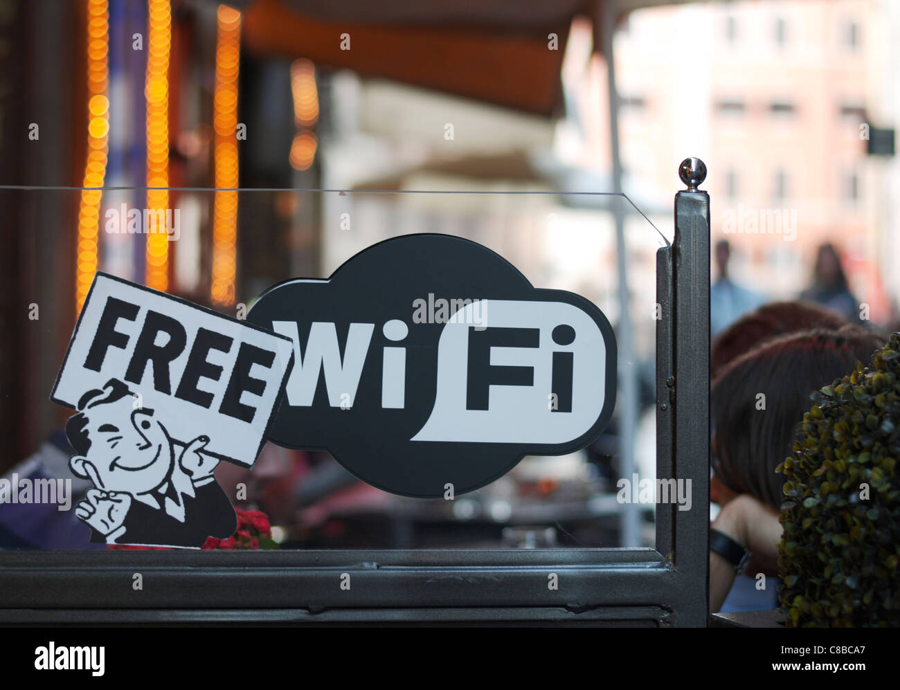 Restaurant in Rome, with free wi-fi sticker, shallow DOF. - Stock Image