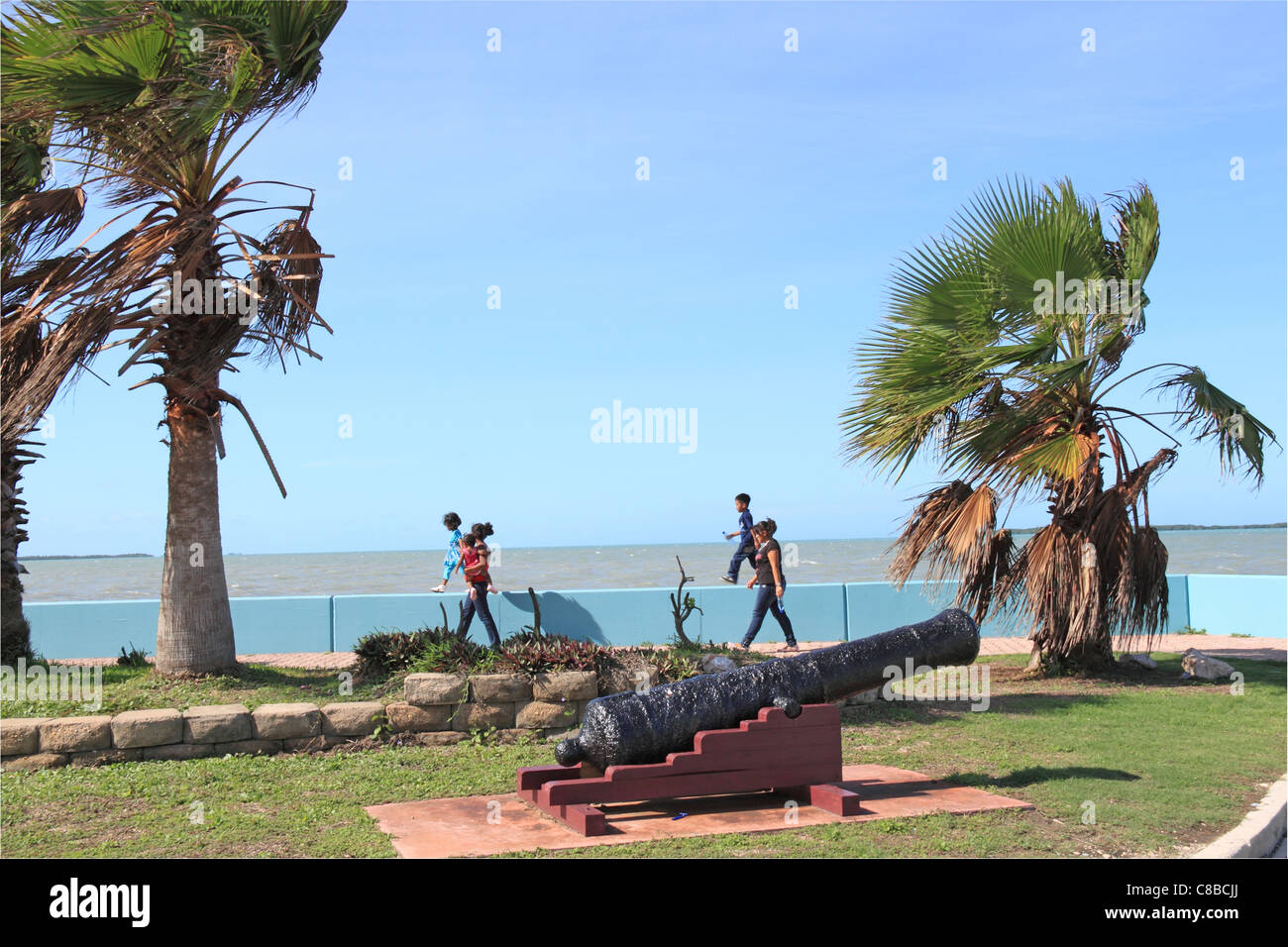 Marine Parade, Fort George, Belize City, Belize, Caribbean, Central America - Stock Image