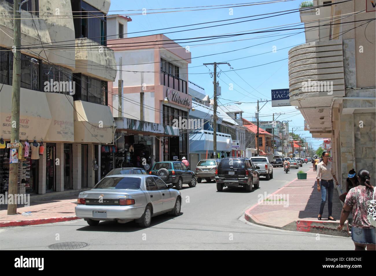Albert Street, main shopping street of Belize City, Belize, Caribbean, Central America - Stock Image
