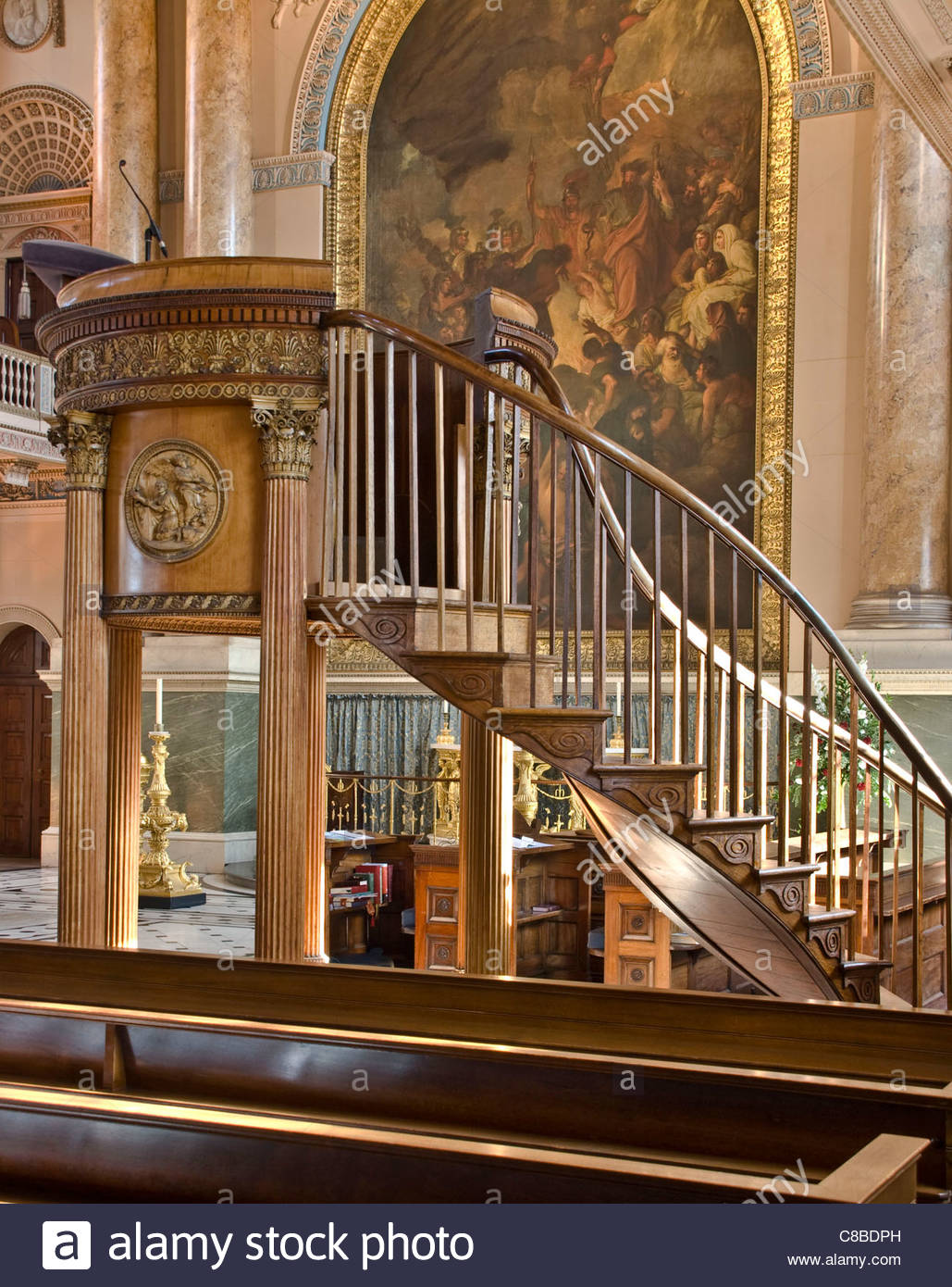 Interior of St Peter and Paul chapel Old Royal Naval College UNESCO world heritage site Greenwich London England - Stock Image