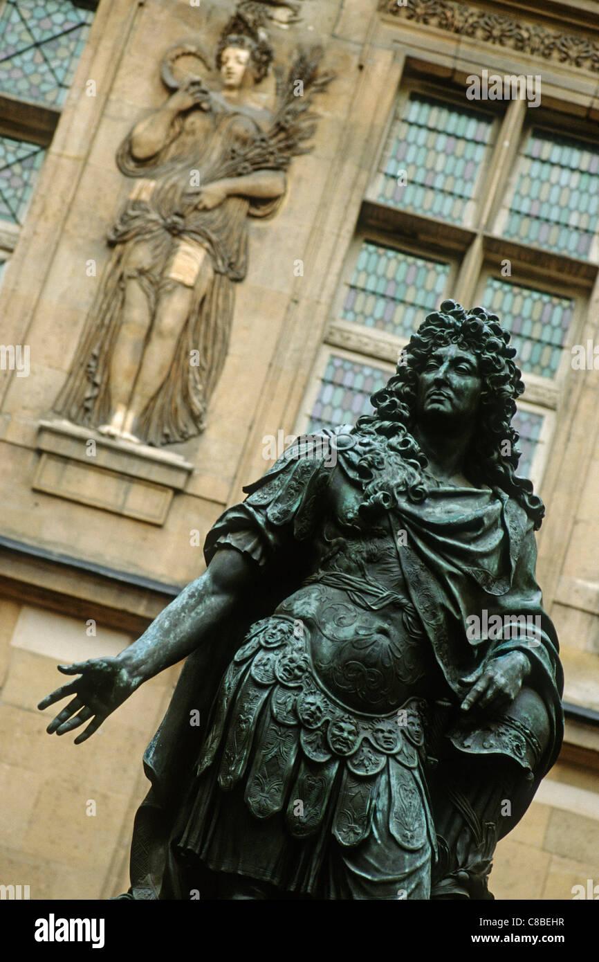 Paris. France. Statue of Louis XIV Musee Carnavalet, rue de Sevigne 3rd Arrondissement. - Stock Image