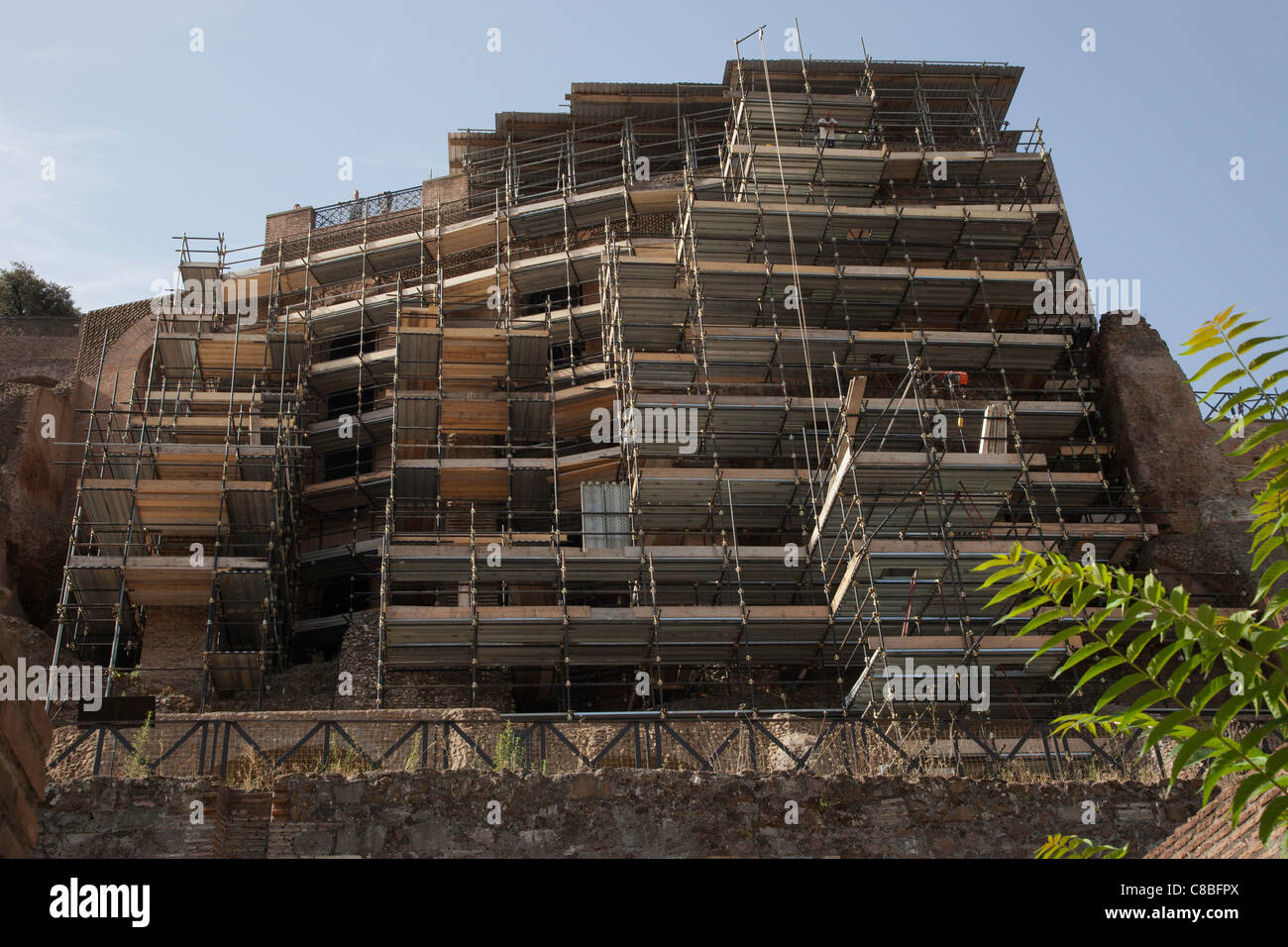 Eleven Stories of Scaffolding at the Fora Romana Rome Stock Photo