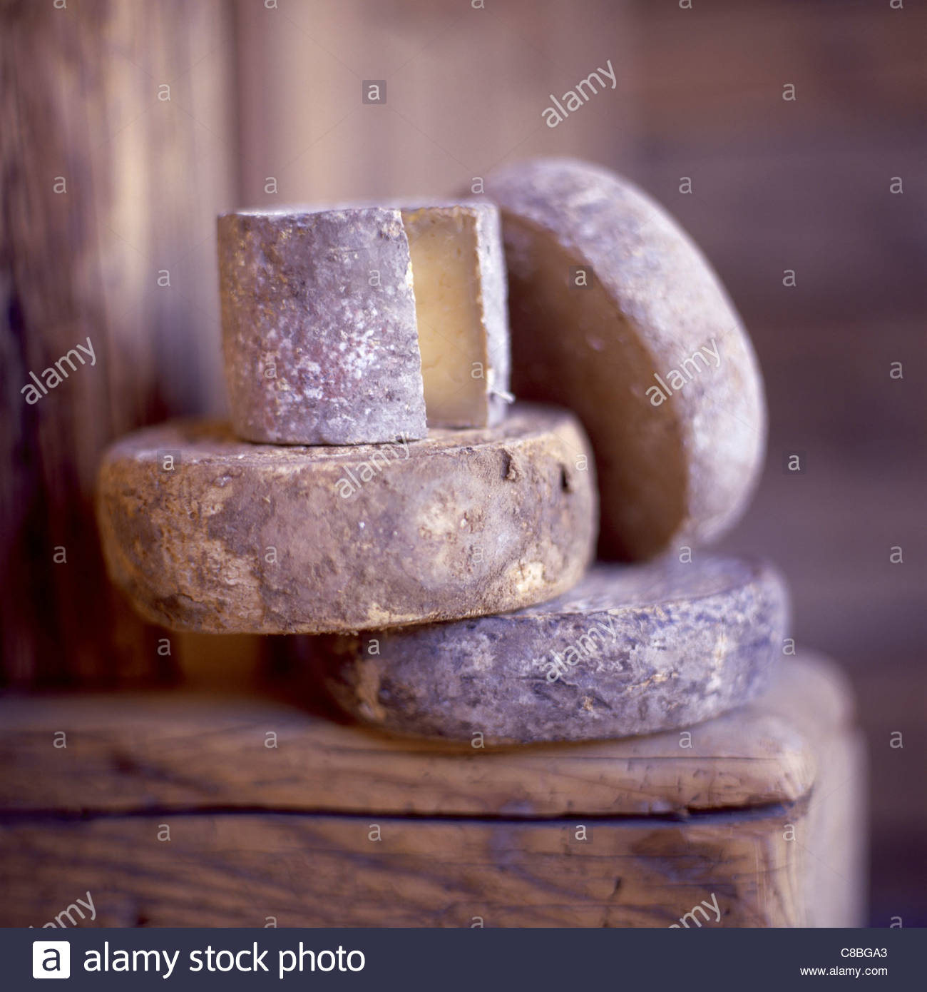 selection of tomme cheeses - Stock Image
