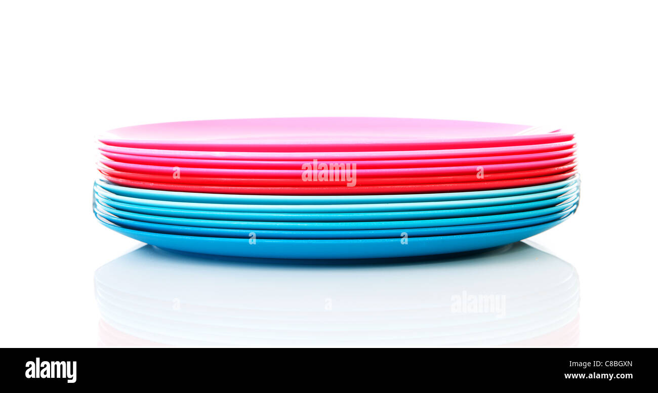 Pile of colorful plastic plates over white background - Stock Image  sc 1 st  Alamy & Plastic Plates Stock Photos u0026 Plastic Plates Stock Images - Alamy
