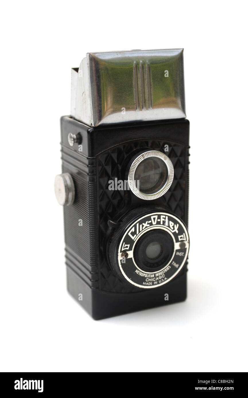 Vintage photographic film camera antique on white cut out. The Clix-O-Flex pseudo TLR camera was made by Metropolitan - Stock Image