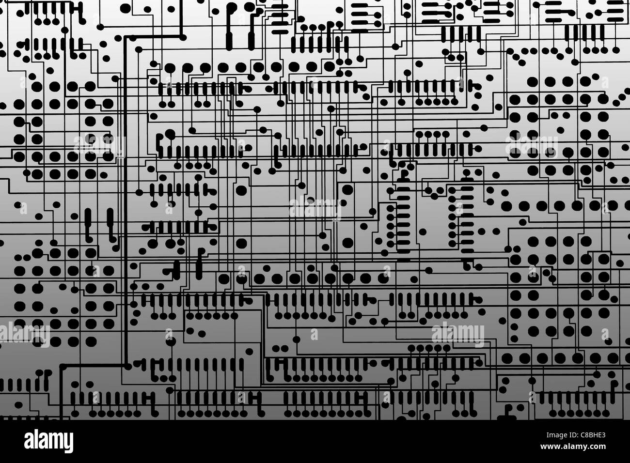 digital enhancement - two layers overlapped on film layout of multilayer printed circuit board - Stock Image
