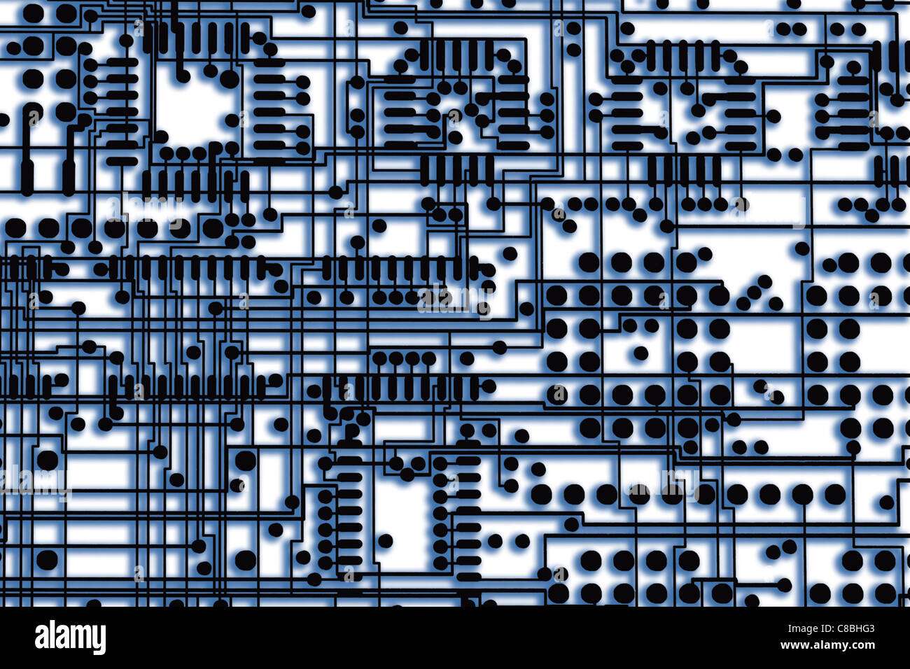 Circuit Board Layout Stock Photos Multilayer Images Digital Enhancement Two Layers Overlapped On Film Of Printed