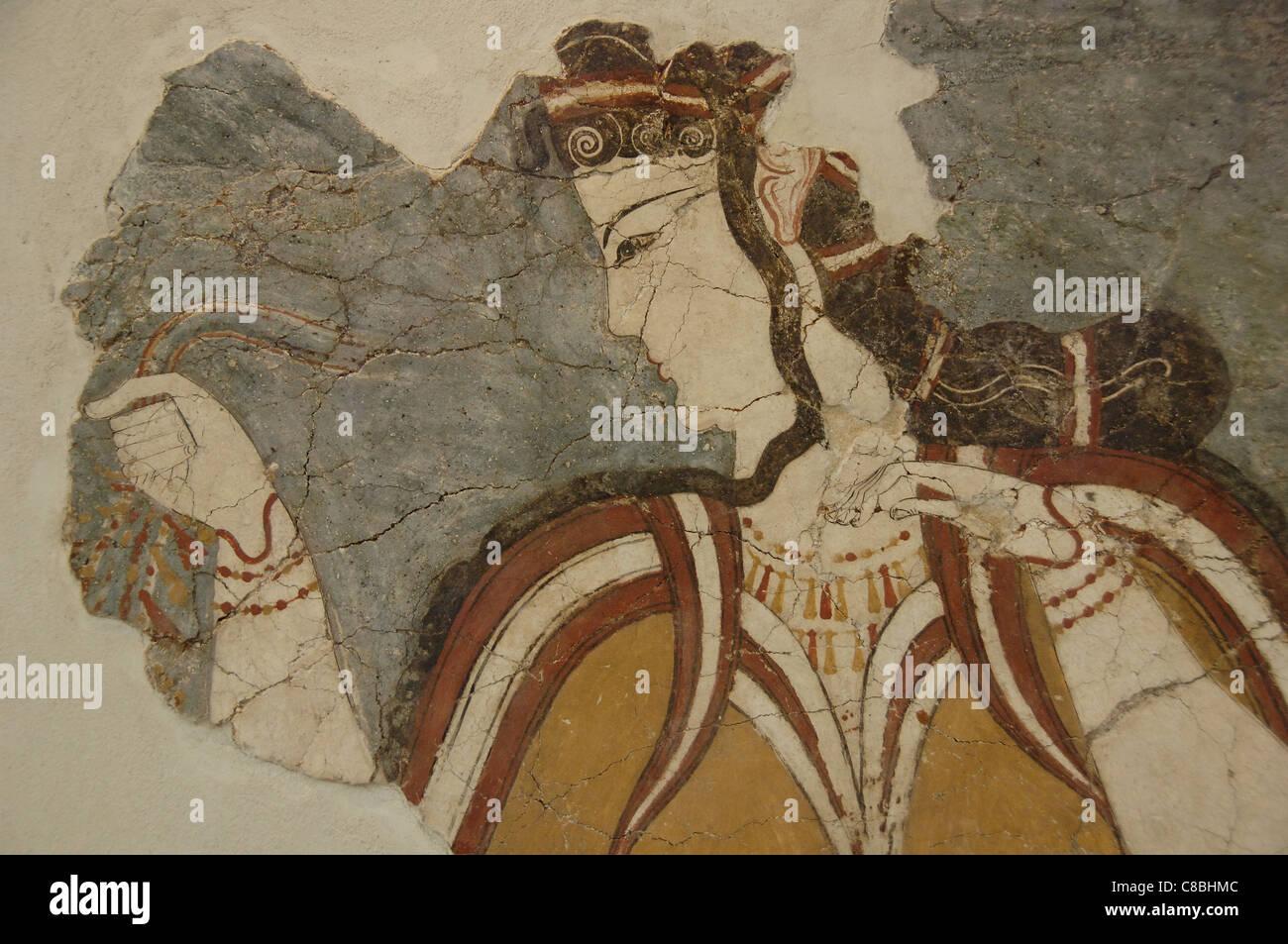 Mycenaean art. Greece. Fresco of the Lady of Mycenae or the Mycenaean. 13th century B.C. It depicts a goddess. - Stock Image