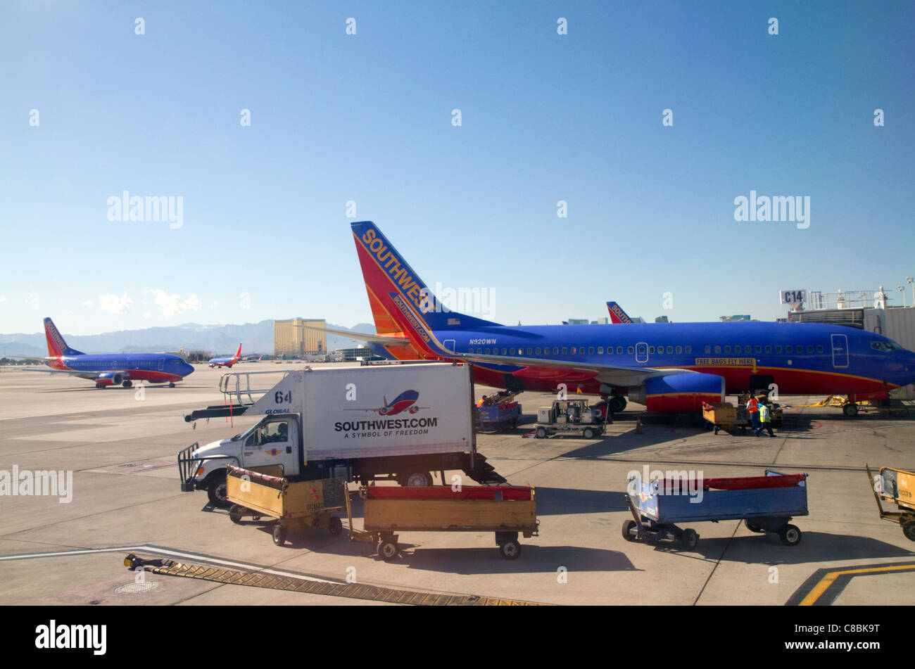 Southwest Boeing 737 at the Las Vegas airport, Nevada, USA. - Stock Image