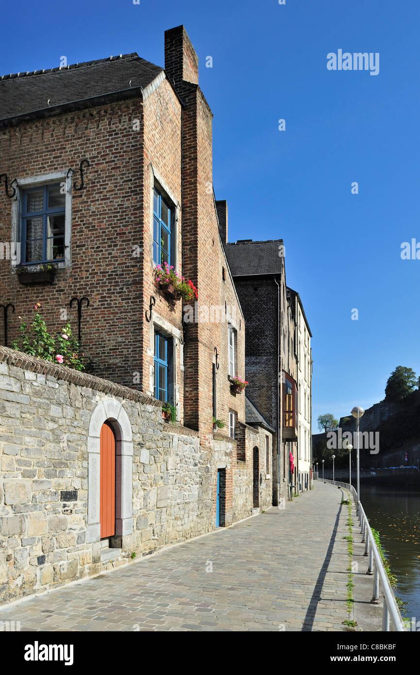 The quarter Quartier des Brasseurs along the river Sambre at Namur, Belgium - Stock Image