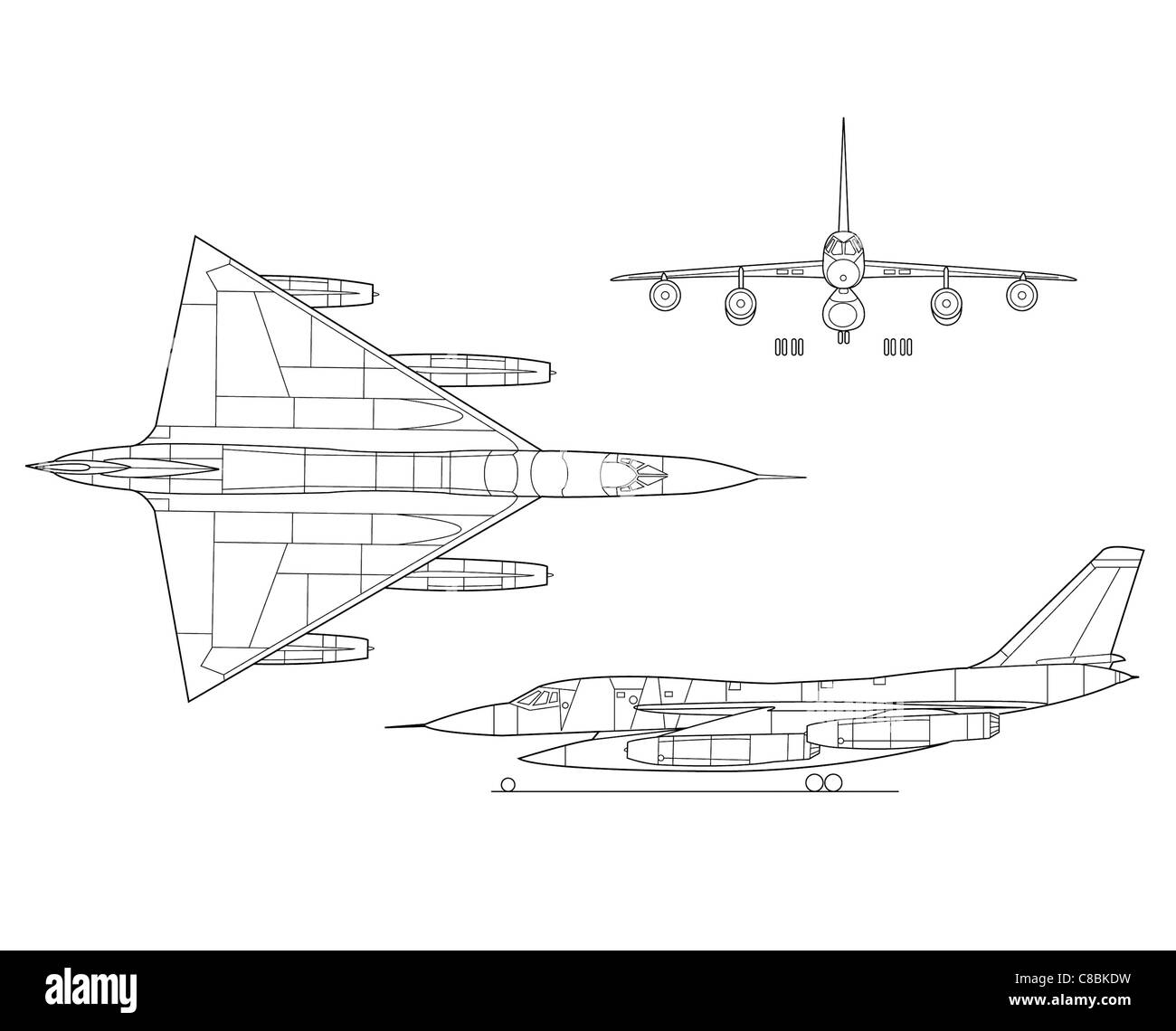 B-58 Hustler 3 view aircraft line art drawing Stock Photo: 39594741