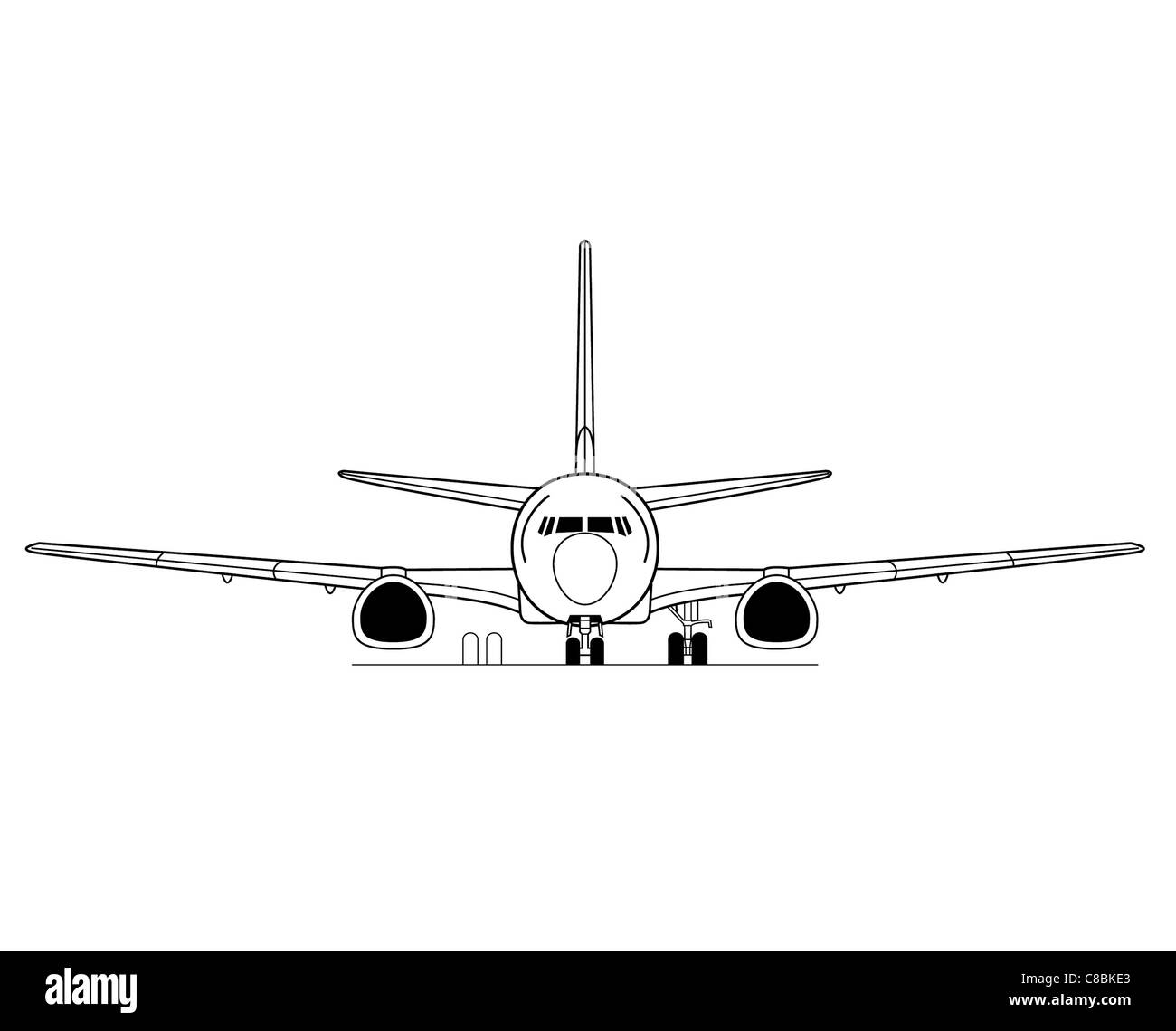 Boeing 737 300 3 View Aircraft Line Art Drawing