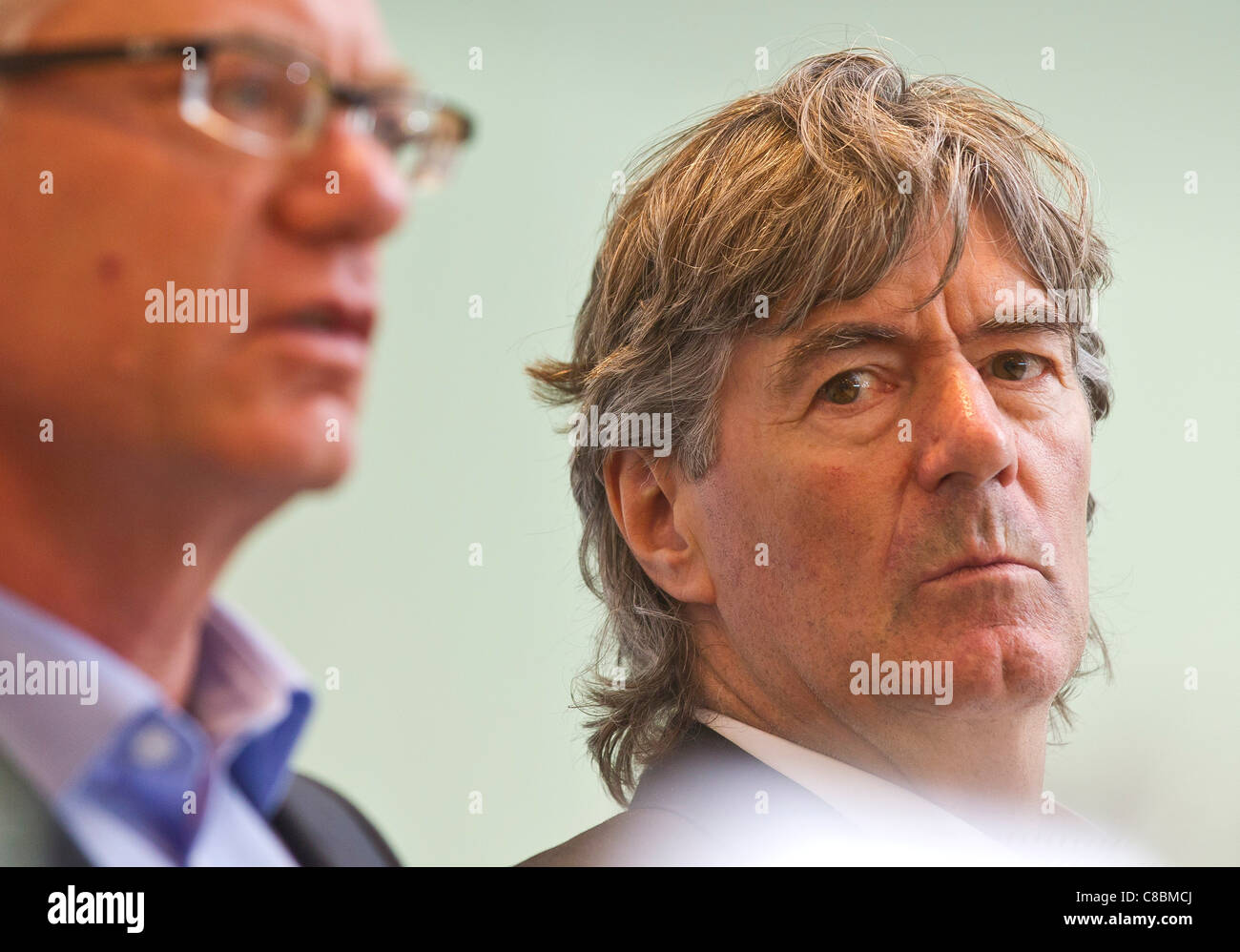 The new coach of the German ice hockey national team Jakob Koellicker and DEB Sportdirector Franz REINDL  at a press - Stock Image
