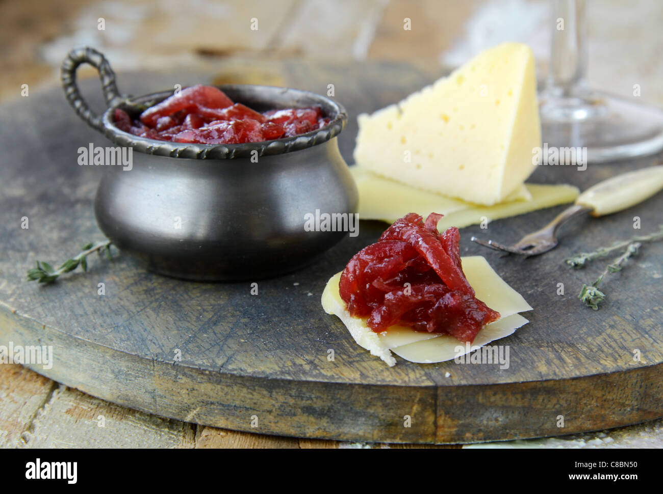 french cuisine - onion confiture on wooden table - Stock Image