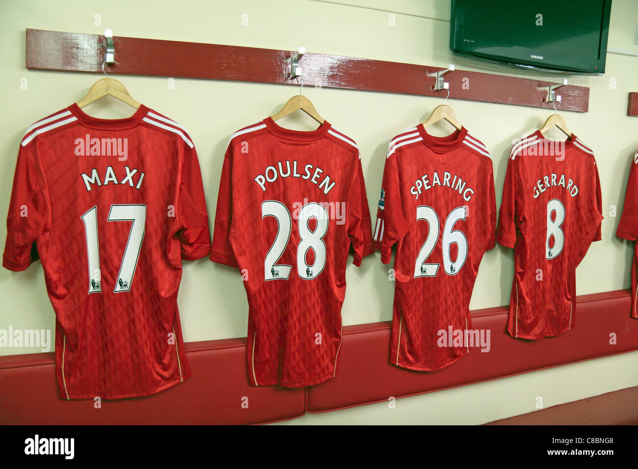4427d1321 Line of player shirts on display in the home team changing room at Anfield