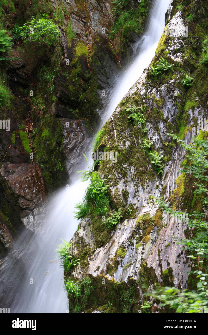 Mynach Waterfall, Devil's Bridge, Ceredigion, Wales, Europe - Stock Image