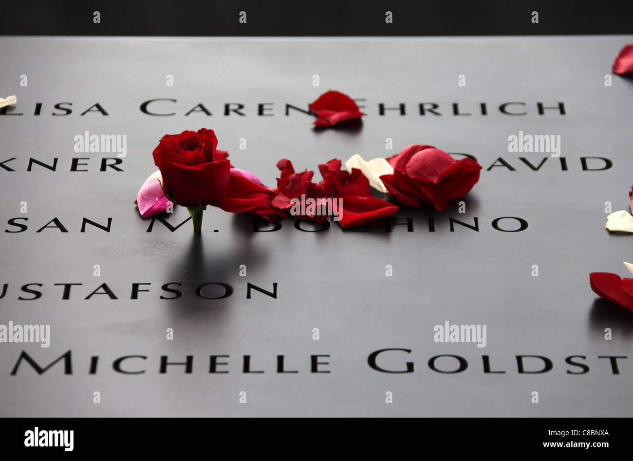 A Floral Tribute at the newly opened NATIONAL SEPTEMBER 11th MEMORIAL - Stock Image