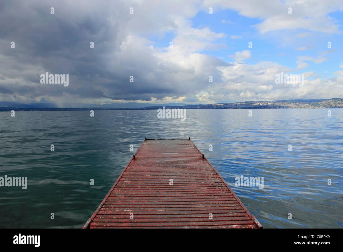 Stormy skies over Lake Geneva (Lac Leman) at Evian France - Stock Image