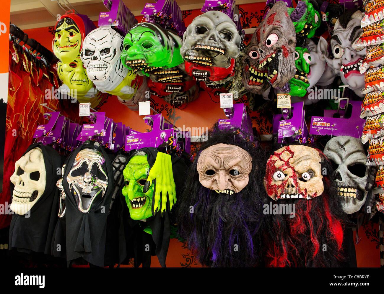 Halloween Masks Uk.Halloween Masks On Sale In Tesco Supermarket Uk Stock Photo