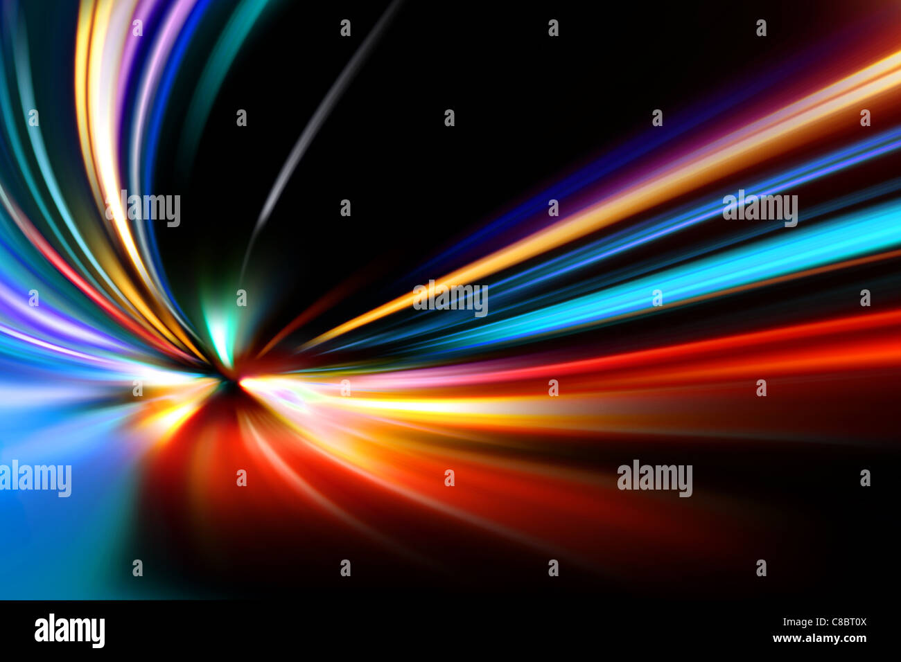abstract night acceleration speed motion on road - Stock Image