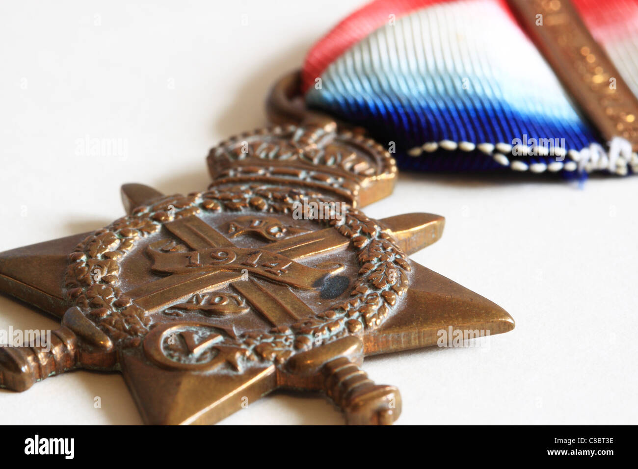 World War One Medal. The 1914 Star. Also Know as 'Pip' or 'Mons Star' Stock Photo