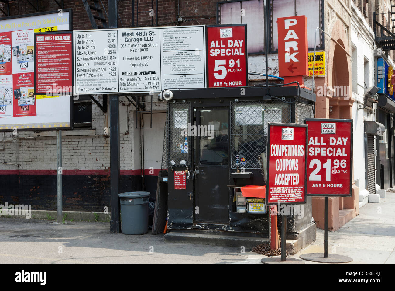 A parking lot on 46th Street in Manhattan in New York City. - Stock Image