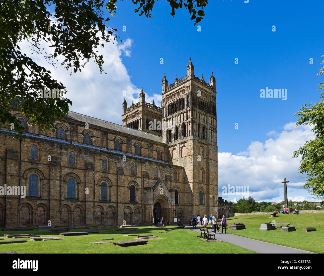 Durham Cathedral from Palace Green, County Durham, North East England, UK - Stock Image