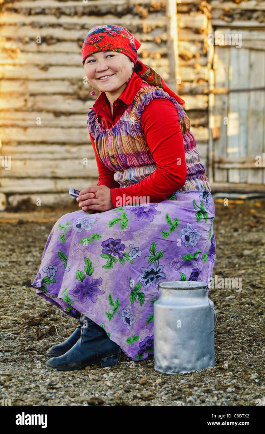 smiling Kazakh girl in Western Mongolia - Stock Image