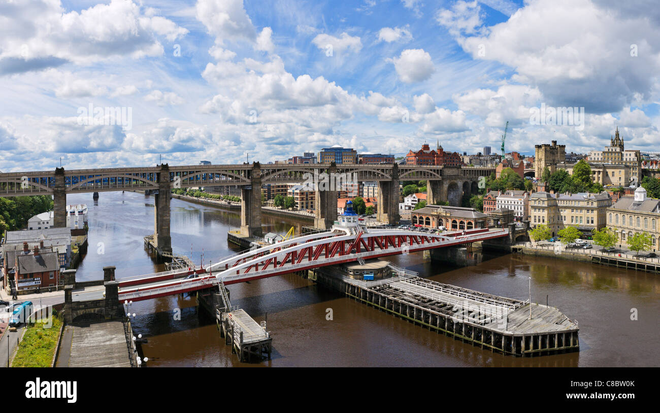 View towards city centre from Tyne Bridge with Swing Bridge &High Level Bridge in foreground, Newcastle upon - Stock Image