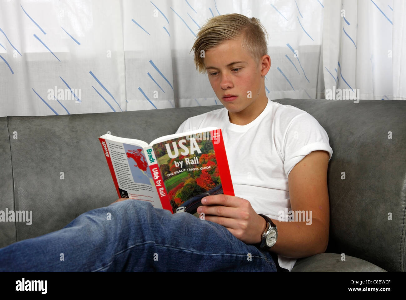 Relaxed, male, Danish teenager reading USA by Rail, a Bradt travel guide by John Pitt, to prepare a holiday in the - Stock Image