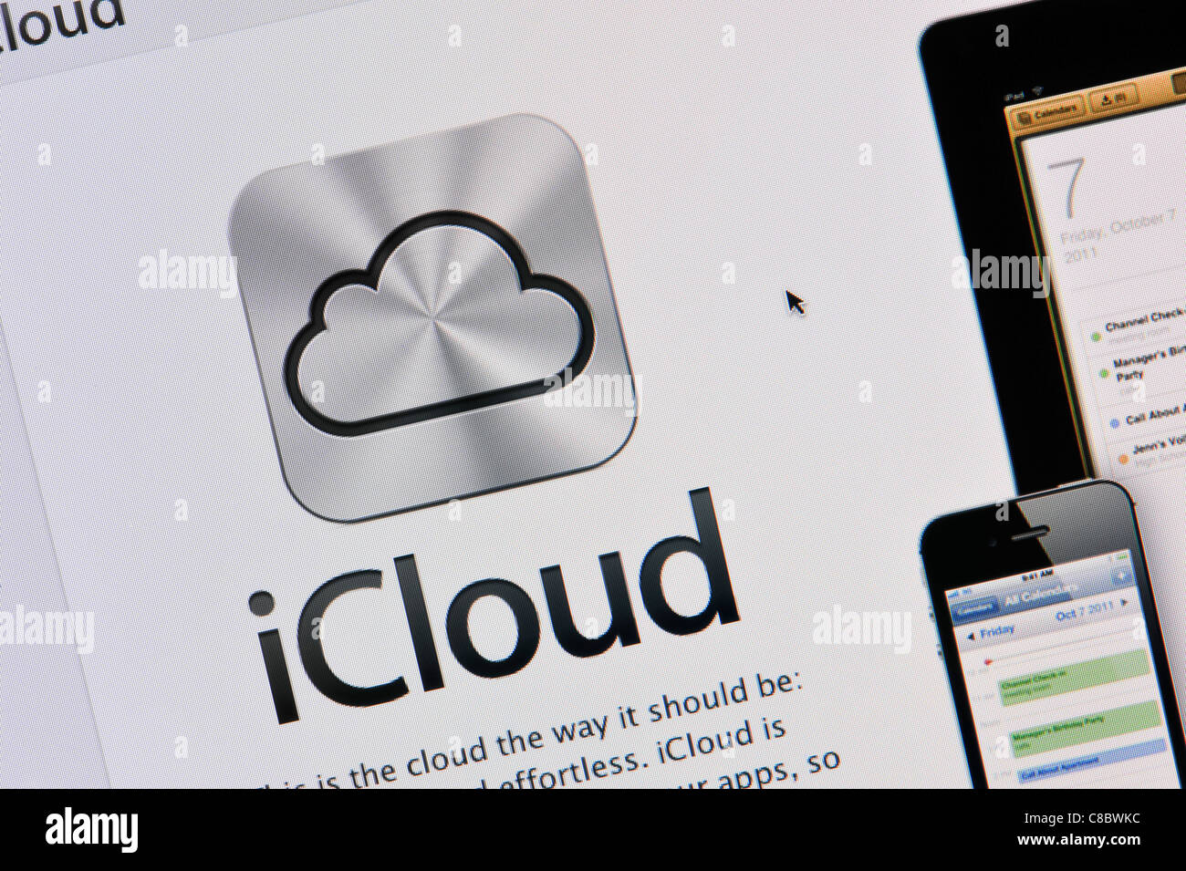 Close-up of the iCloud logo as seen on the Apple website. (Editorial use only: print, TV, e-book and editorial - Stock Image