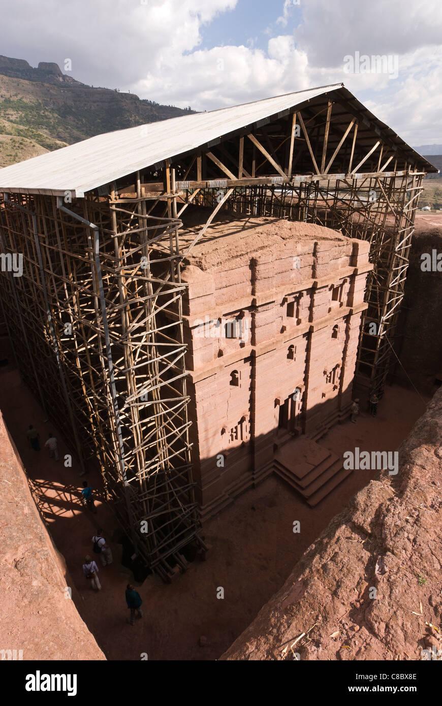 Elk200-3234v Ethiopia, Lalibela, rock cut church, 12th-13th c, Bet Amanuel - Stock Image