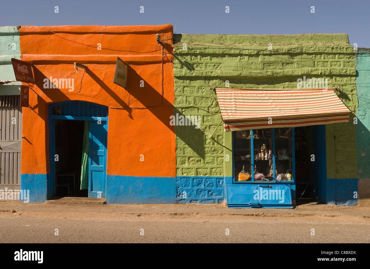 Elk200-4084 Ethiopia, Harar, street scene with shops - Stock Image