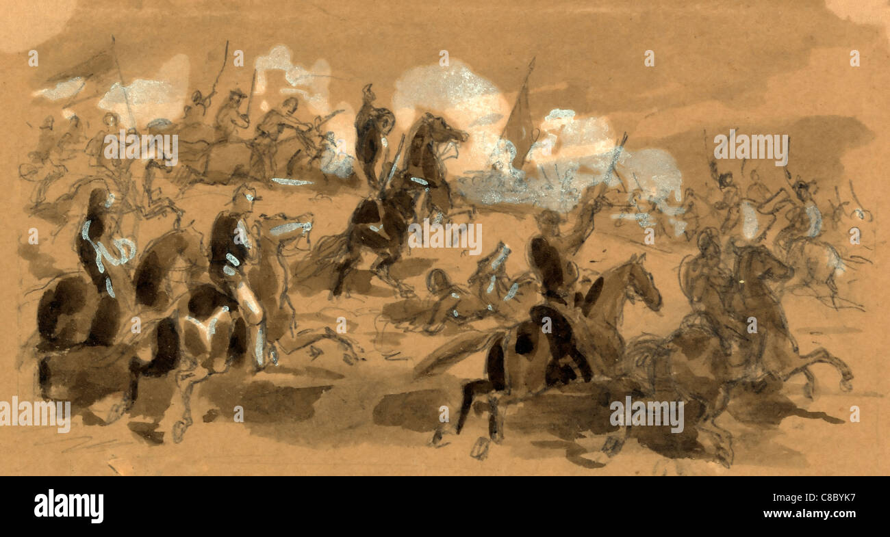 A Cavalry Charge during USA Civil War - drawing on brown paper, between 1861 and 1865 - Stock Image
