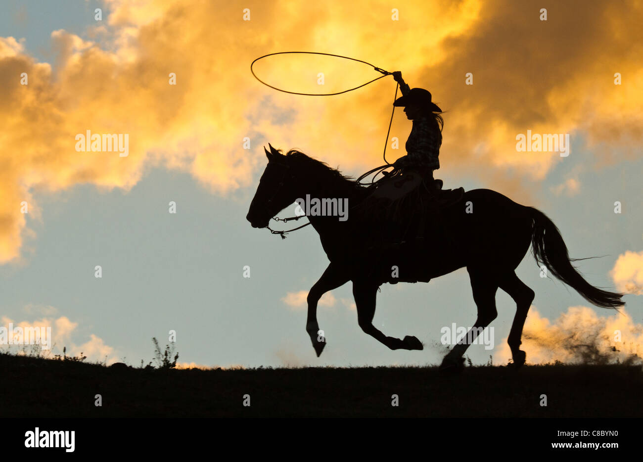 Silhouette of a cowgirl with a lasso against a dramatic clouds setting sun - Stock Image