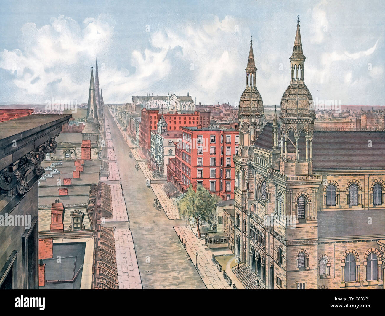 Fifth avenue from 42nd street, looking north, New York City, circa 1879 - Stock Image