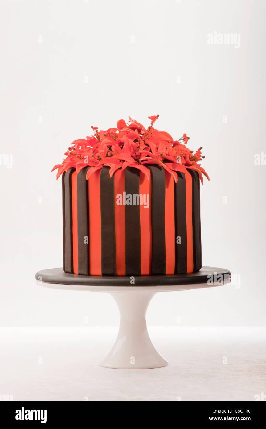 Groovy Orange Red And Black Striped Chocolate Cake With Orange Flowers On Birthday Cards Printable Giouspongecafe Filternl