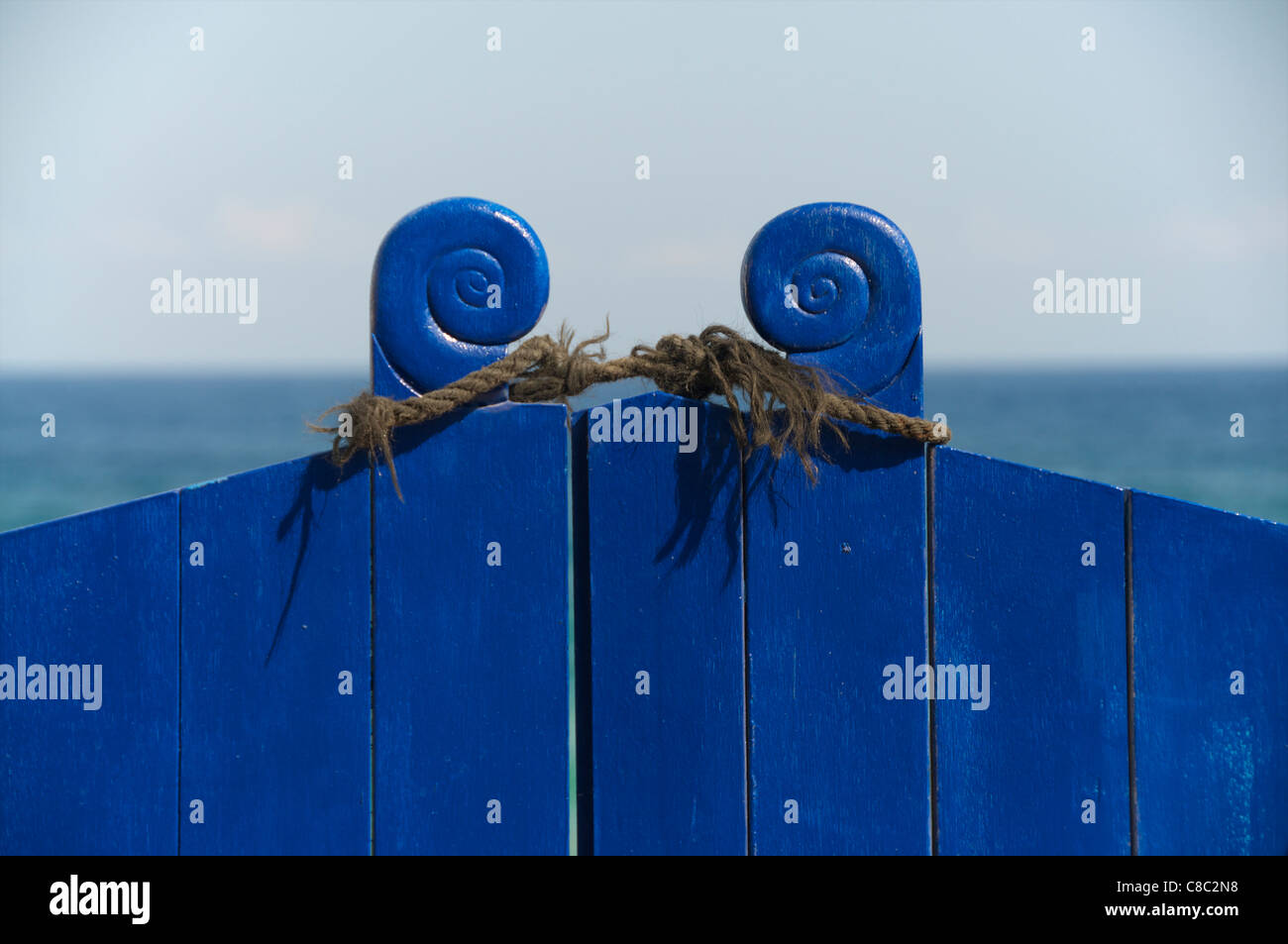 no entry to paradise, blue gates to aegean are tied - Stock Image