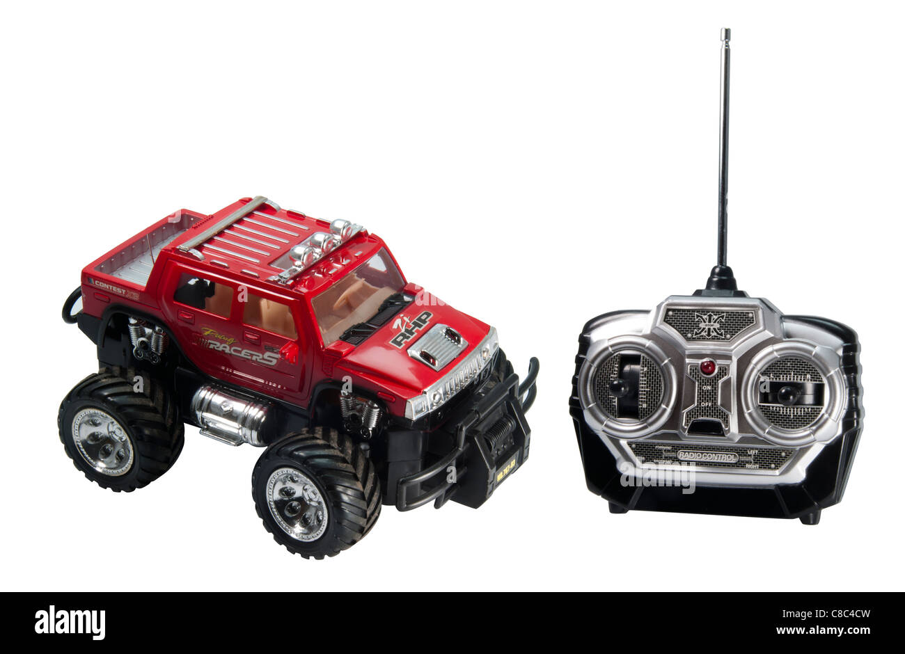 remote controlled truck toy car  - Hummer, on white background. - Stock Image