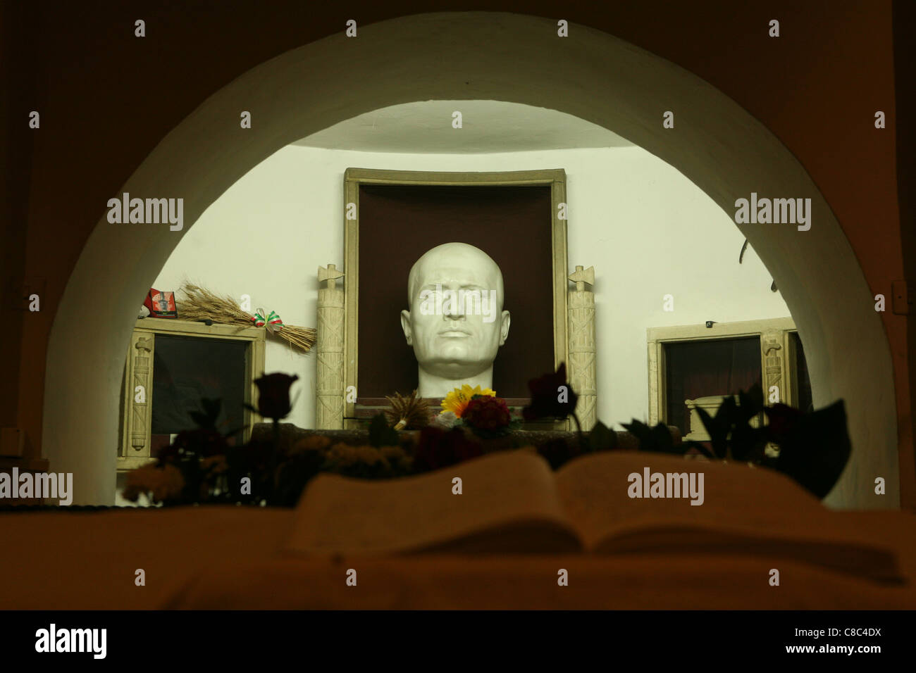 Tomb of Italian Fascist dictator Benito Mussolini in the Mussolini family crypt in the cemetery of Predappio, Italy. Stock Photo