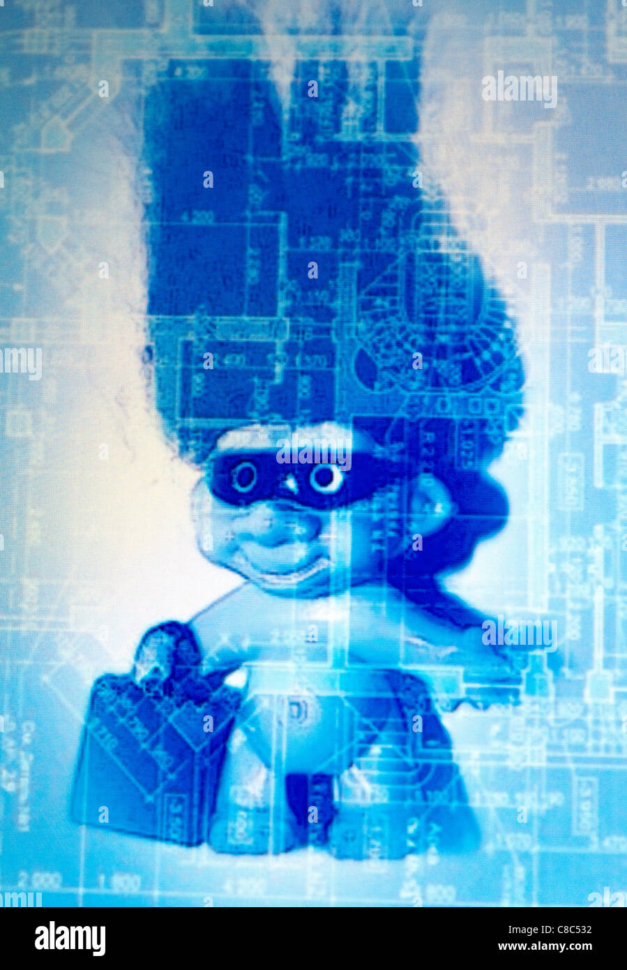 Patent troll on blueprint background. - Stock Image