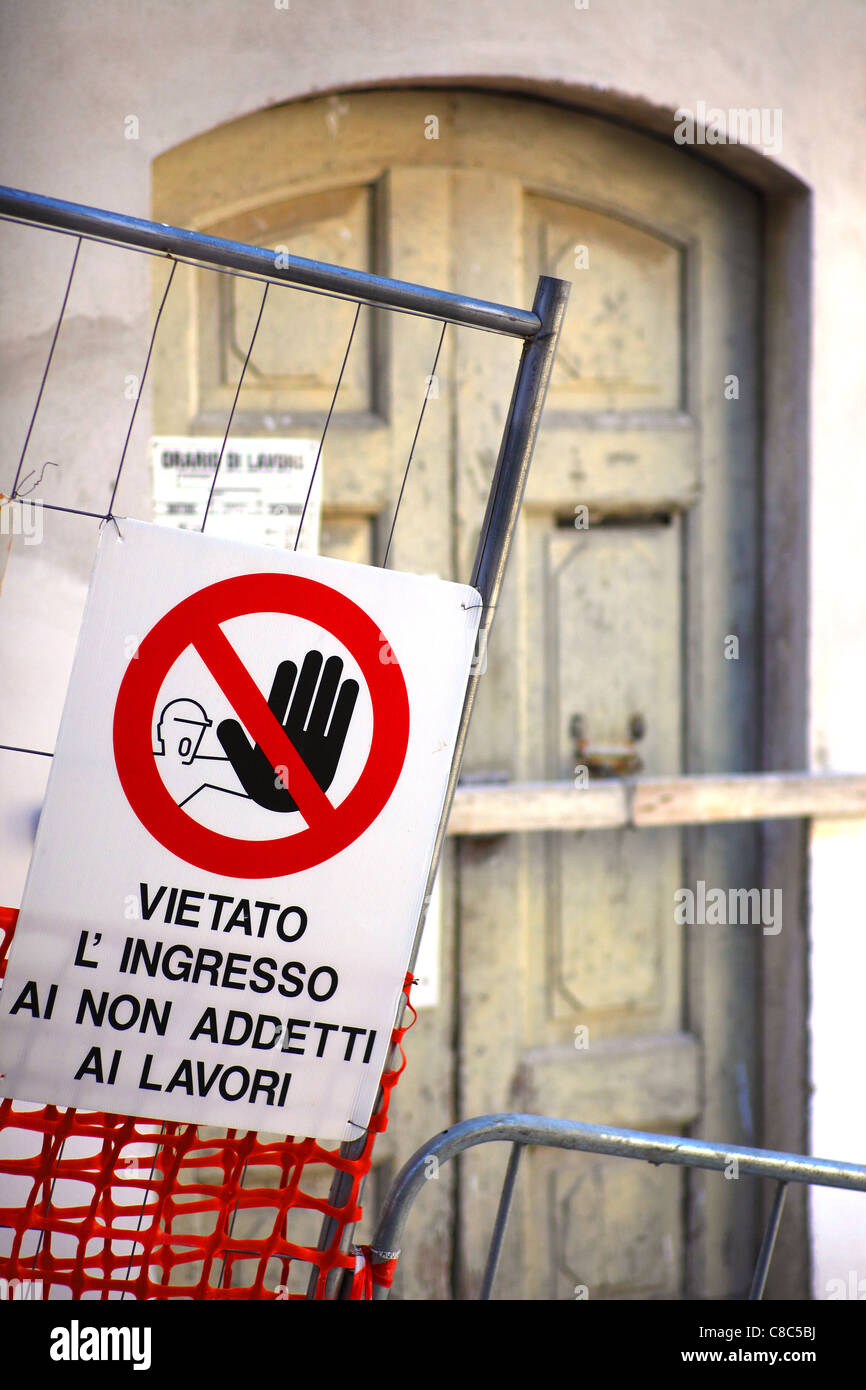 No entry sign on a building site in Italy. - Stock Image
