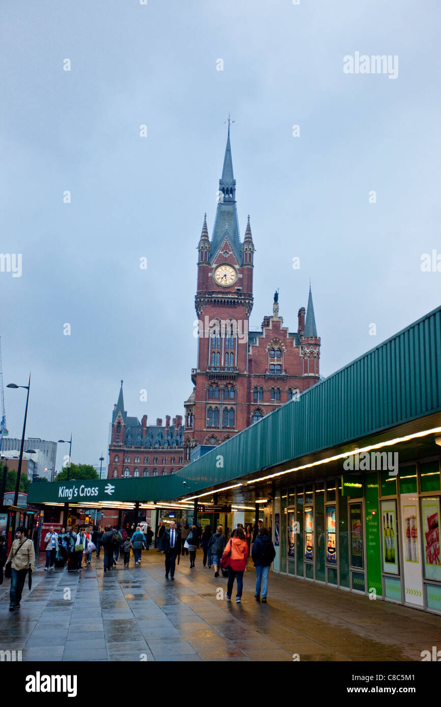 King's Cross Railway Station on a rainy afternoon, with St Pancras Station on the background, London, England, - Stock Image